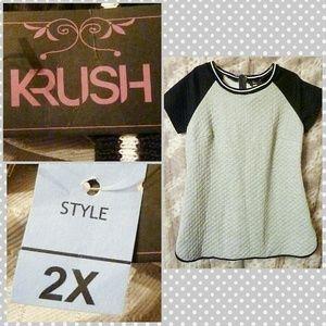 Krush Pale Gray & Black Raglan Quilted Tunic JP 2X